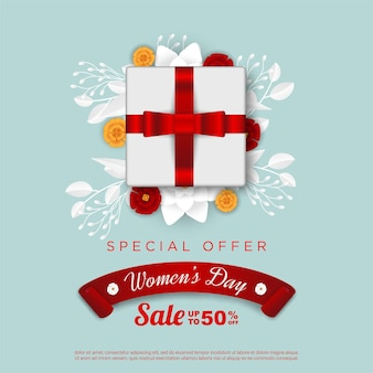 Happy women's day sale with realistic gift box and floral