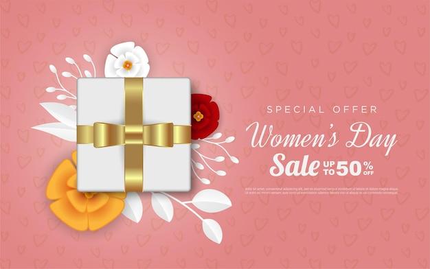Распродажа с женским днем с реалистичной подарочной коробкой
