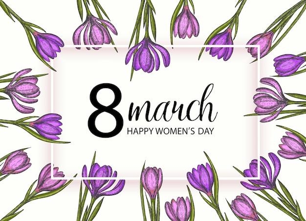幸せな女性の日。春の花は手描きのライラックとピンクのクロッカス。