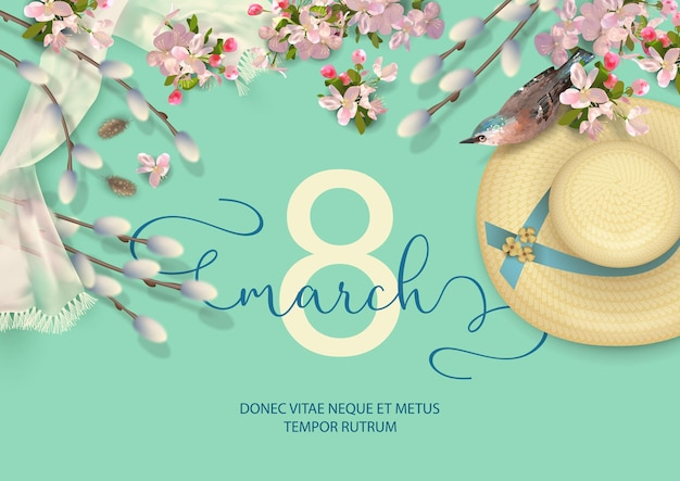 Happy women's day spring greeting card with a bird, straw hat, willow branches and cherry blossoms