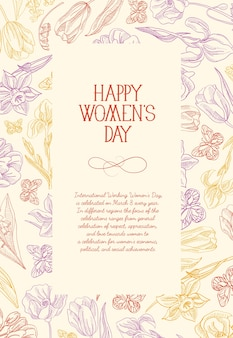 Happy women's day square greeting card with many colors and flowers around the red text with greetings the on the rose surface vector illustration