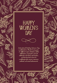 Happy women's day square greeting card with many flowers to the right of the red text with greetings illustration