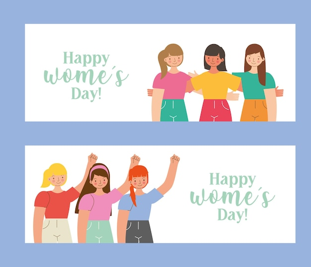 Happy women's day templates with young girls.  illustration