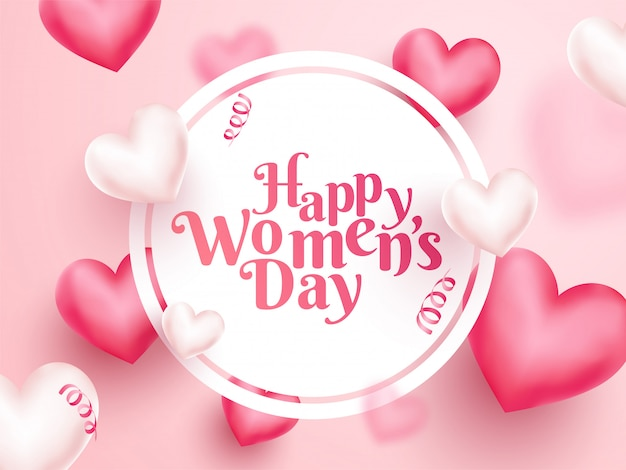 Happy women's day text in circular frame with 3d hearts decorated on pink background.