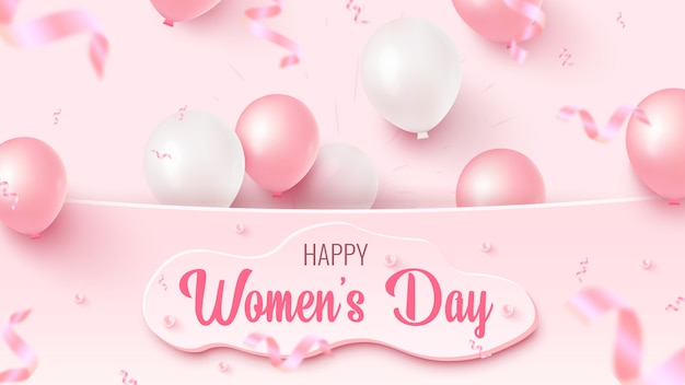 Happy women's day text design with custom white shape, pink and white air balloons, falling foil confetti on rosy background. women's day template.