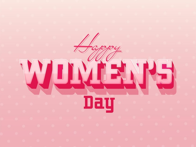 Happy women's day text on glossy pink dotted, greeting card