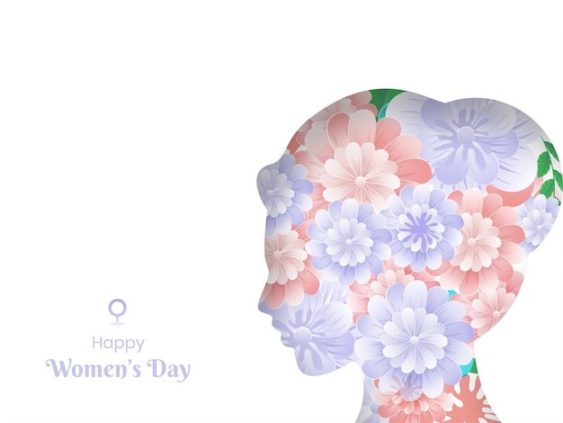 Happy women's day text with paper flowers decorated female face on white background.