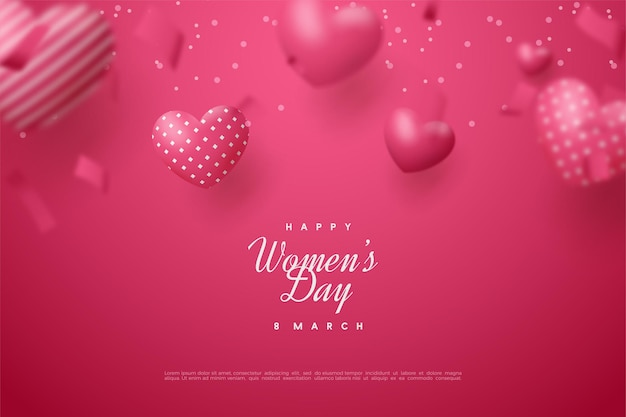Happy women's day with 3d red love balloons.