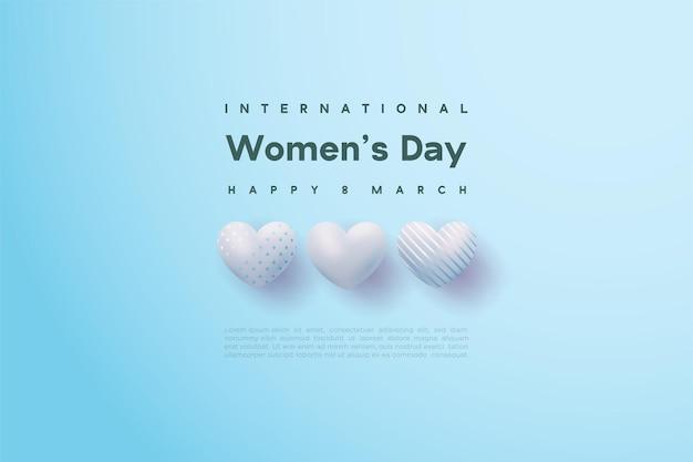 세 개의 밝은 파란색 사랑 풍선과 함께 행복한 여성의 날.