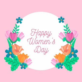 Happy women's day with assortment of flowers
