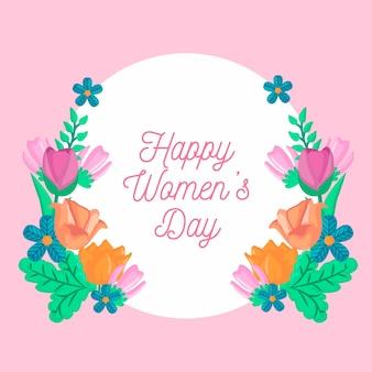 花の品揃えで幸せな女性の日