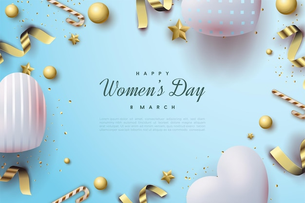 Happy women's day with beautiful bright blue love balloons.