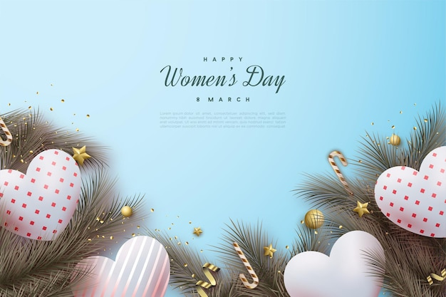 Happy women's day with beautiful white love balloons.