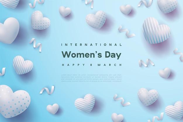 푸른 사랑 풍선과 함께 행복한 여성의 날이 흩어져 있습니다.