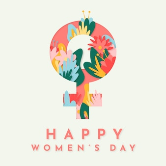 Happy women's day with female sign and flowers