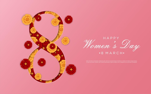 Happy women's day with flower shape figure 8 background