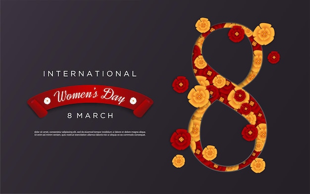Happy women's day with flower shape figure 8 on black background