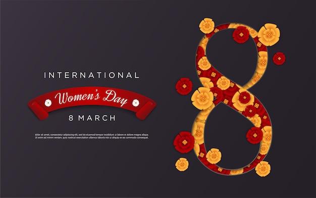 검은 배경에 꽃 모양 그림 8과 함께 행복한 여성의 날