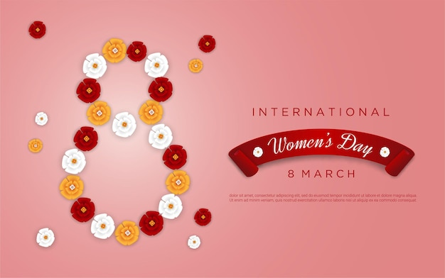 Happy women's day with flower shape figure 8