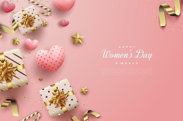 Happy women's day with gift boxes and love balloons.