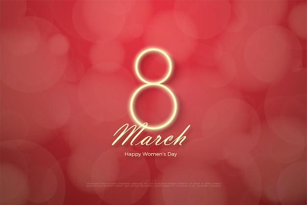 빨간색에 빛나는 숫자와 함께 행복한 여성의 날 프리미엄 벡터
