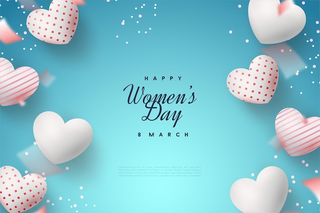 블루에 사랑 풍선과 함께 행복 한 여성의 날