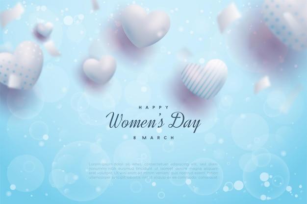 사랑 bokeh 풍선과 함께 행복한 여성의 날.