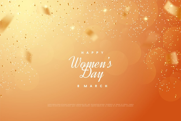 Happy women's day with orange bokeh