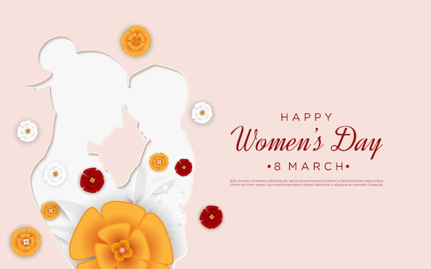 Happy women's day with paper cut