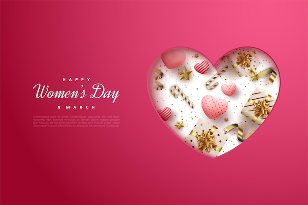 Happy women's day with papercut love