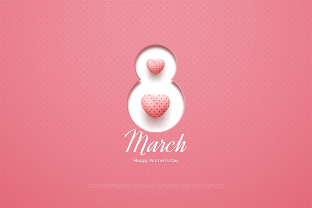 Happy women's day with papercut numbers and 3d love balloons.
