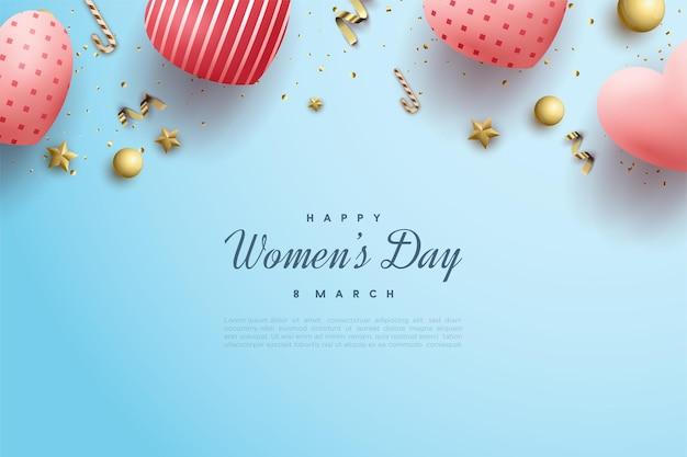 파란색에 분홍색 사랑 풍선과 함께 행복한 여성의 날