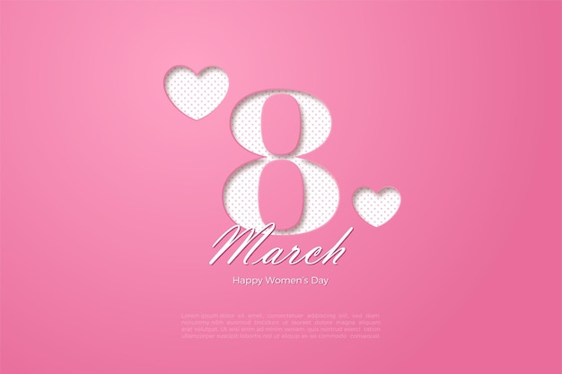 Happy women's day with pink papercut numbers.