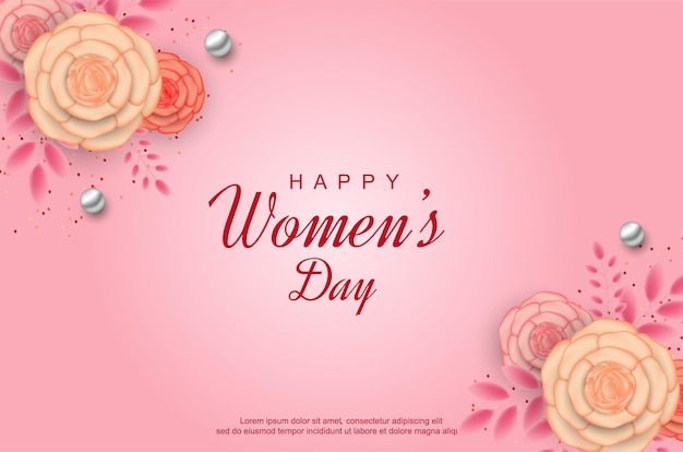 ピンクの背景にリアルな花と幸せな女性の日