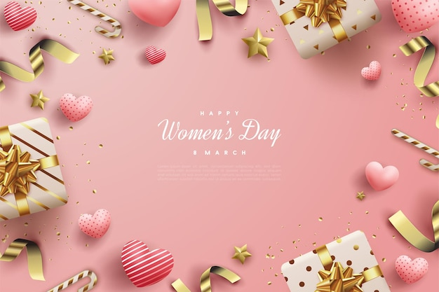 Happy women's day with shades of pink.