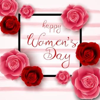 ピンクのバクの正方形で幸せな女性の日
