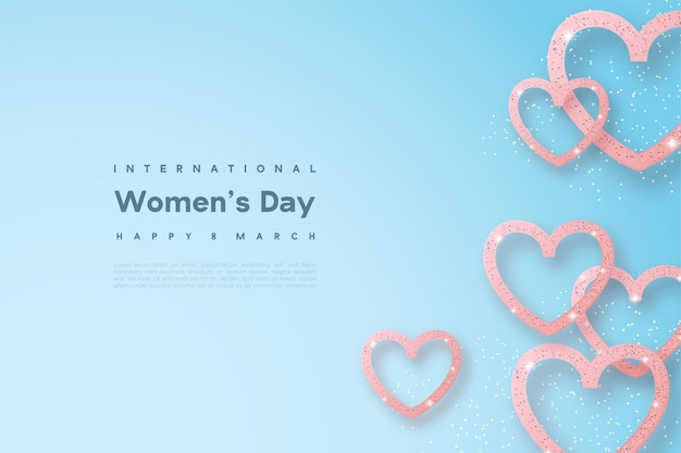 Happy women's day with a thick line in the shape of love.