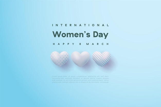 Happy women's day with an three bright blue love balloons.