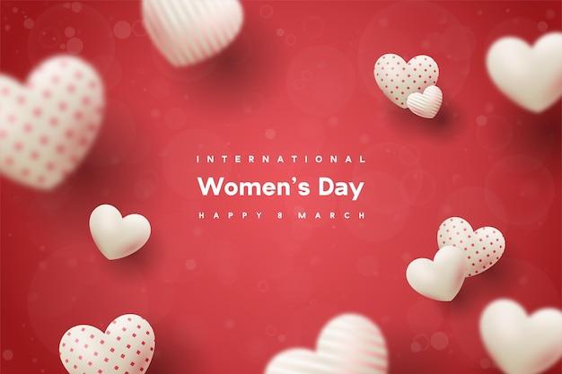 빨간색에 흰색 풍선과 함께 행복한 여성의 날