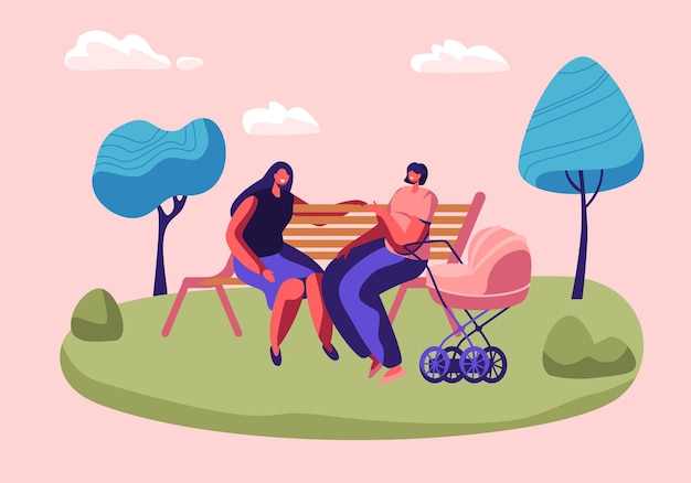 Happy women spend time together sitting on bench outdoors and chatting