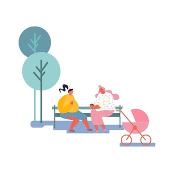 Счастливые женщины проводят время вместе, сидя на скамейке на открытом воздухе и болтая, встречаясь с друзьями, образ жизни.