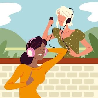 Happy women with earphones