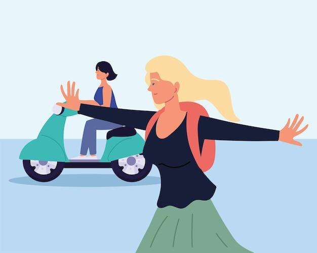 Счастливые женщины с электрическим мотоциклом мультфильм