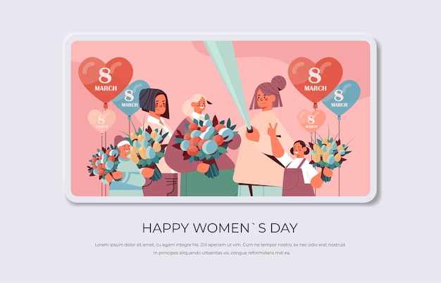 Happy women with flowers and air balloons making selfie photo womens day 8 march holiday celebration