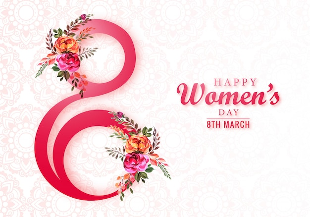 Happy womens day 8th march greeting card