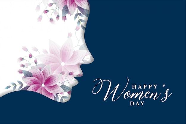 花のスタイルで幸せな女性の日の背景