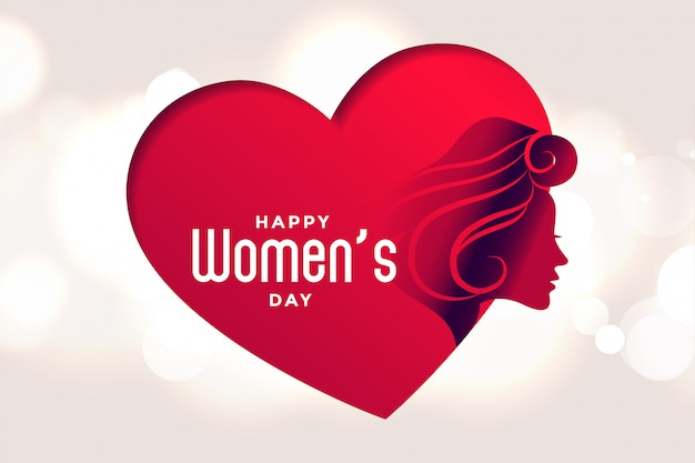 幸せな女性の日の心と顔のポスター