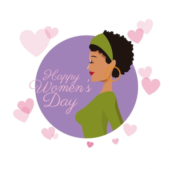Happy womens day card girl curly hair purple hearts image
