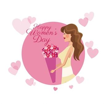 행복한 여성의 날 카드 소녀 꽃 핑크 하트 이미지