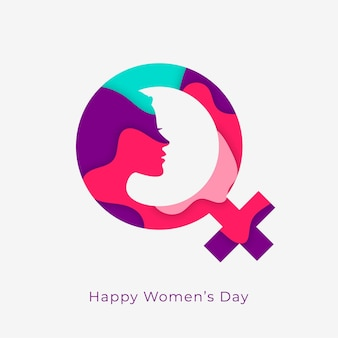 Happy womens day concept design con simbolo femminile Vettore gratuito